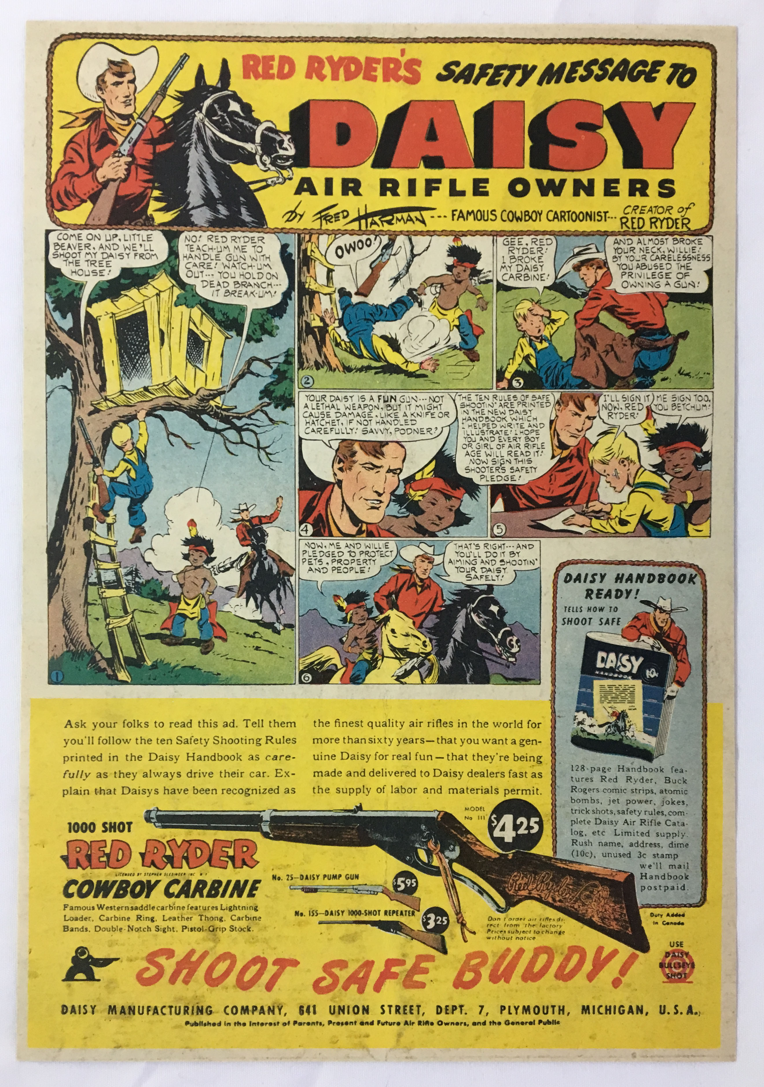 70bcec1877 Details about 1947 Daisy Air Rifle Owners Safety Message ad page ~ RED  RYDER COWBOY CARBINE