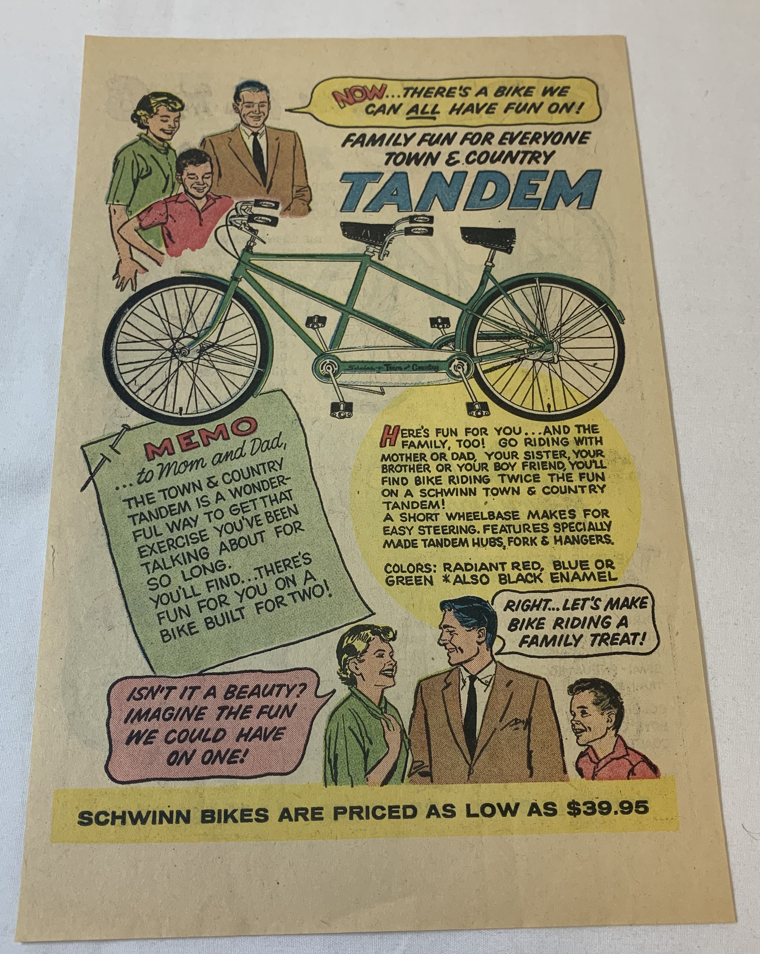 1959 Schwinn bicycle cartoon ad page TANDEM Town Country